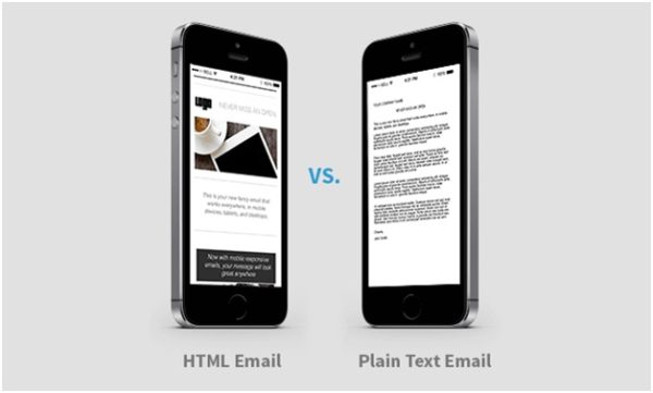 Decide between HTML and plain text email
