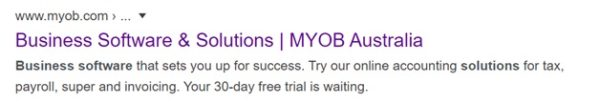 organic search giveMYOB a higher ranking